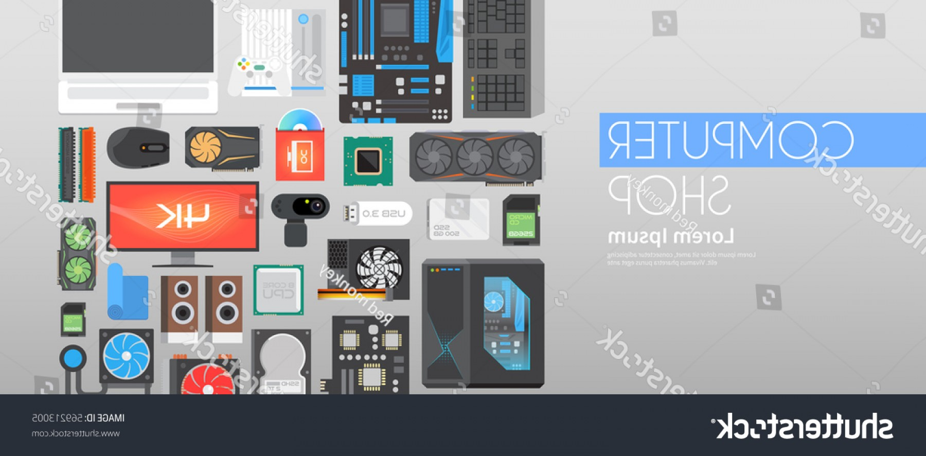 Vector Travel Cooler Parts: Web Flat Vector Banner On Theme