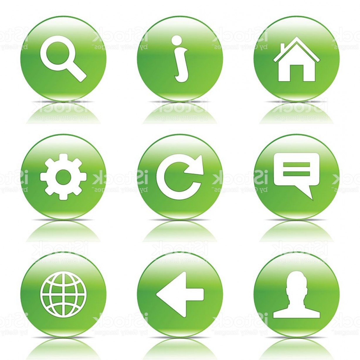 Button Icon Vector: Web Internet Green Vector Button Icon Design Set Gm