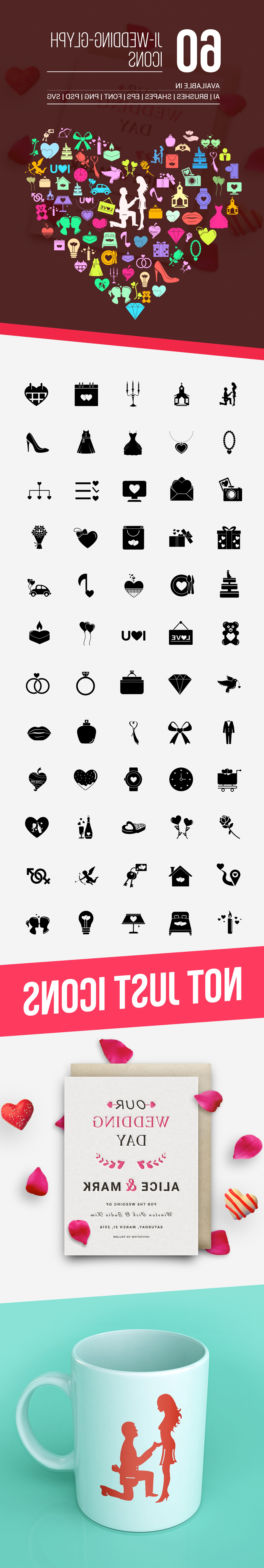 I Love You Mark Vector: Wedding And Love Vector Icons