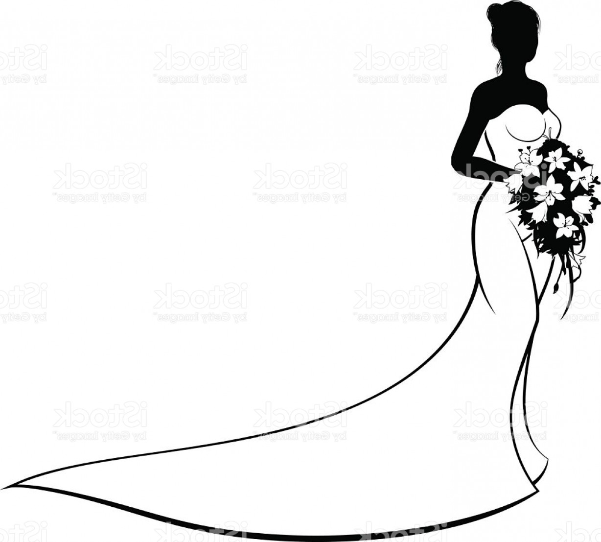 Vector Images Of Black And White Dresses: Wedding Bride Silhouette Holding Flowers Gm