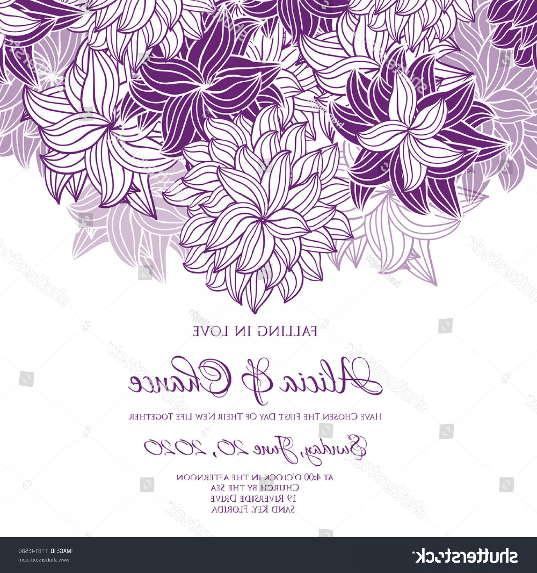 Lilac Wedding Vectors: Wedding Card Invitation Abstract Floral Background