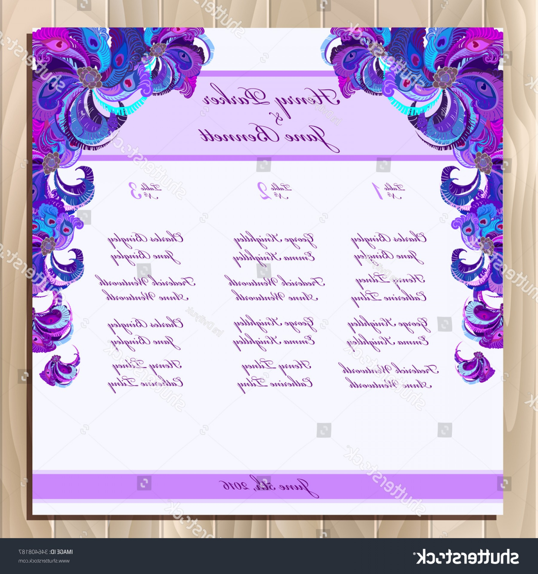 Lilac Wedding Vectors: Wedding Guest List Table Vector Background
