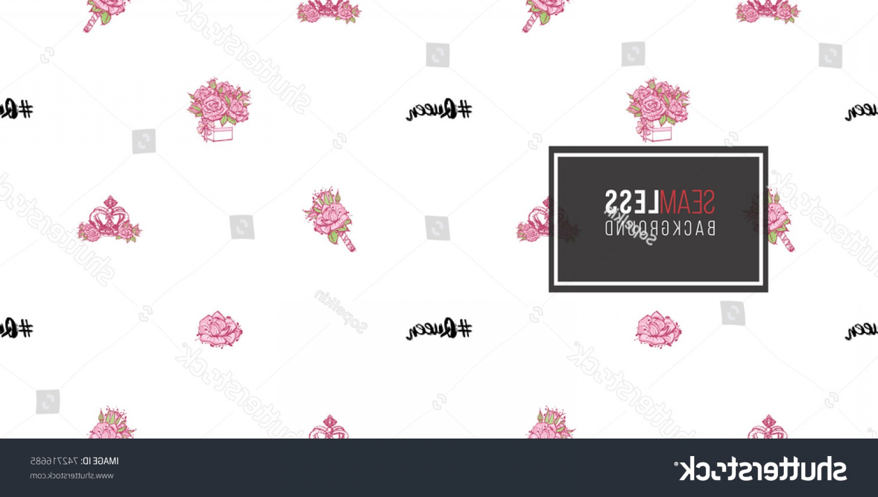 Hashtag Rose Vector: Wedding Illustration Seamless Pattern Queen Hashtag