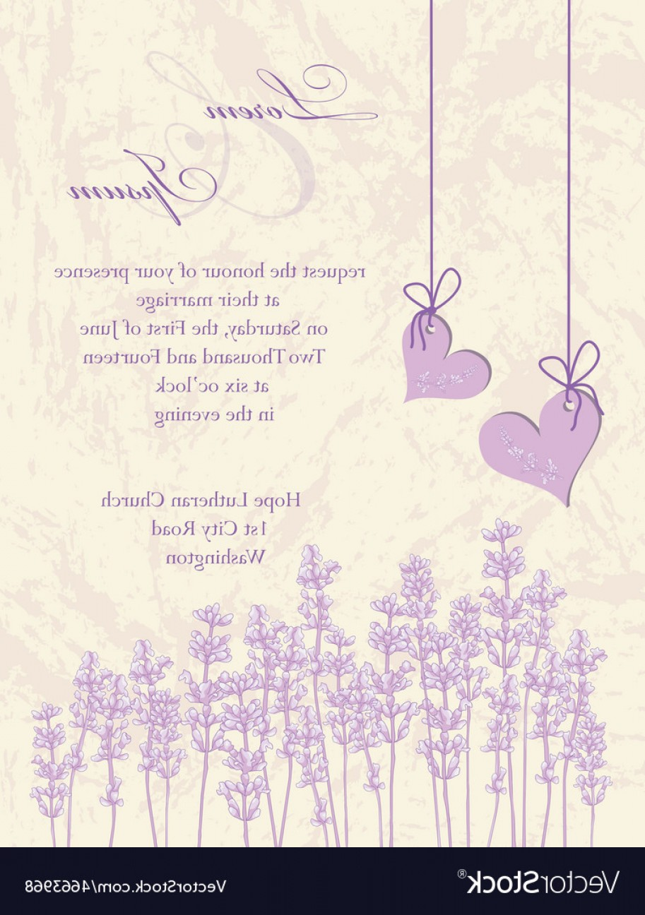 Lilac Wedding Vectors: Wedding Invitation Card Lavender Background Vector