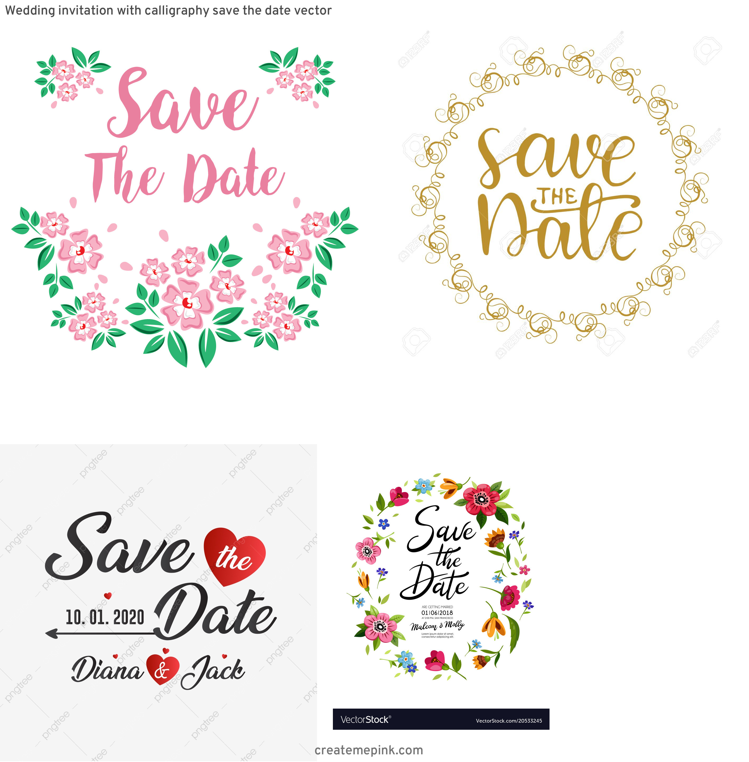 Save The Date Vector: Wedding Invitation With Calligraphy Save The Date Vector