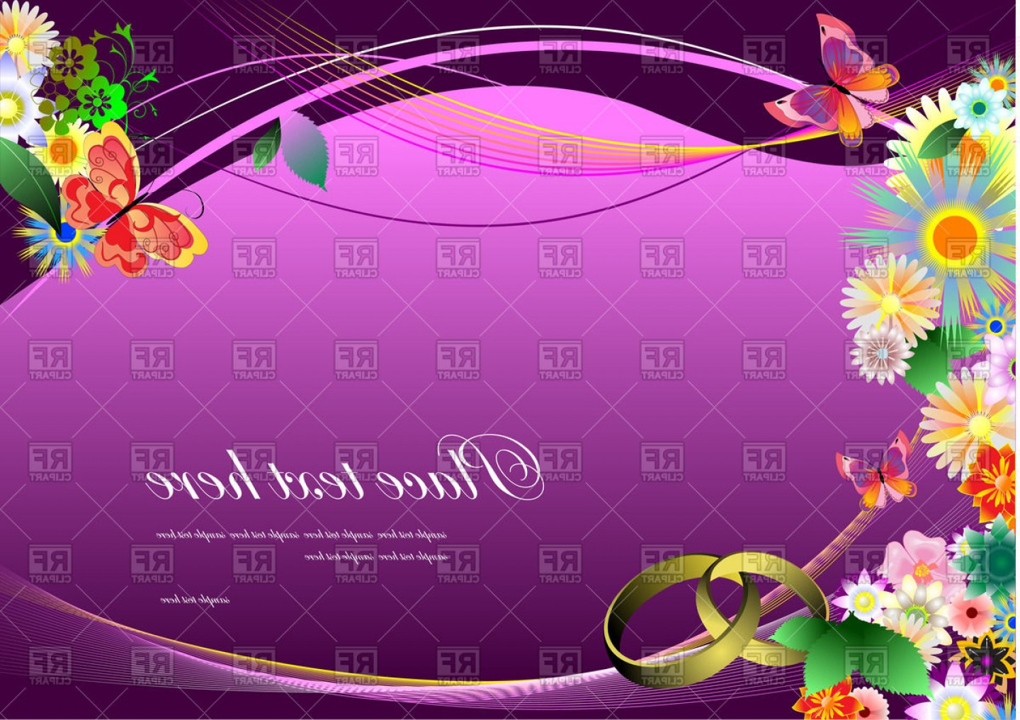 Lilac Wedding Vectors: Wedding Invitation With Flowers On Purple Wavy Background Vector Clipart