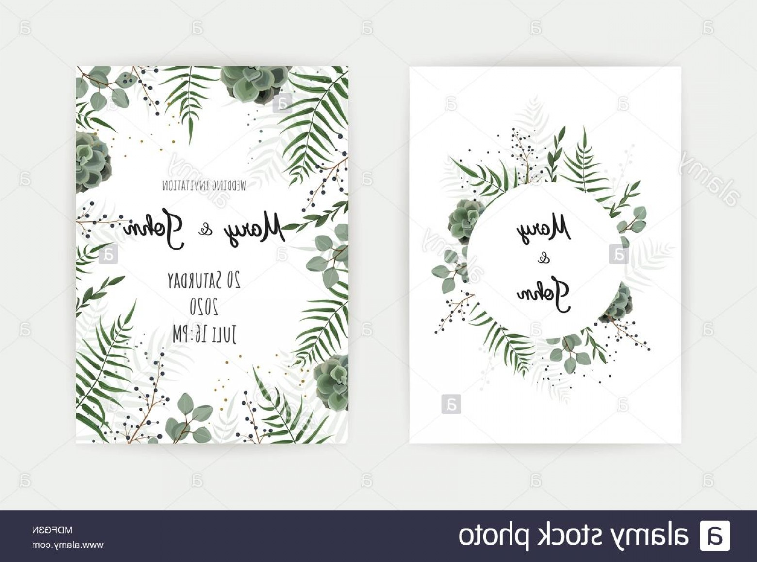 Rustic Wedding Invitation Vector: Wedding Invitation With Green Leaf Eucalyptus Branches Decorative Wreath Frame Pattern Vector Elegant Watercolor Rustic Template Image