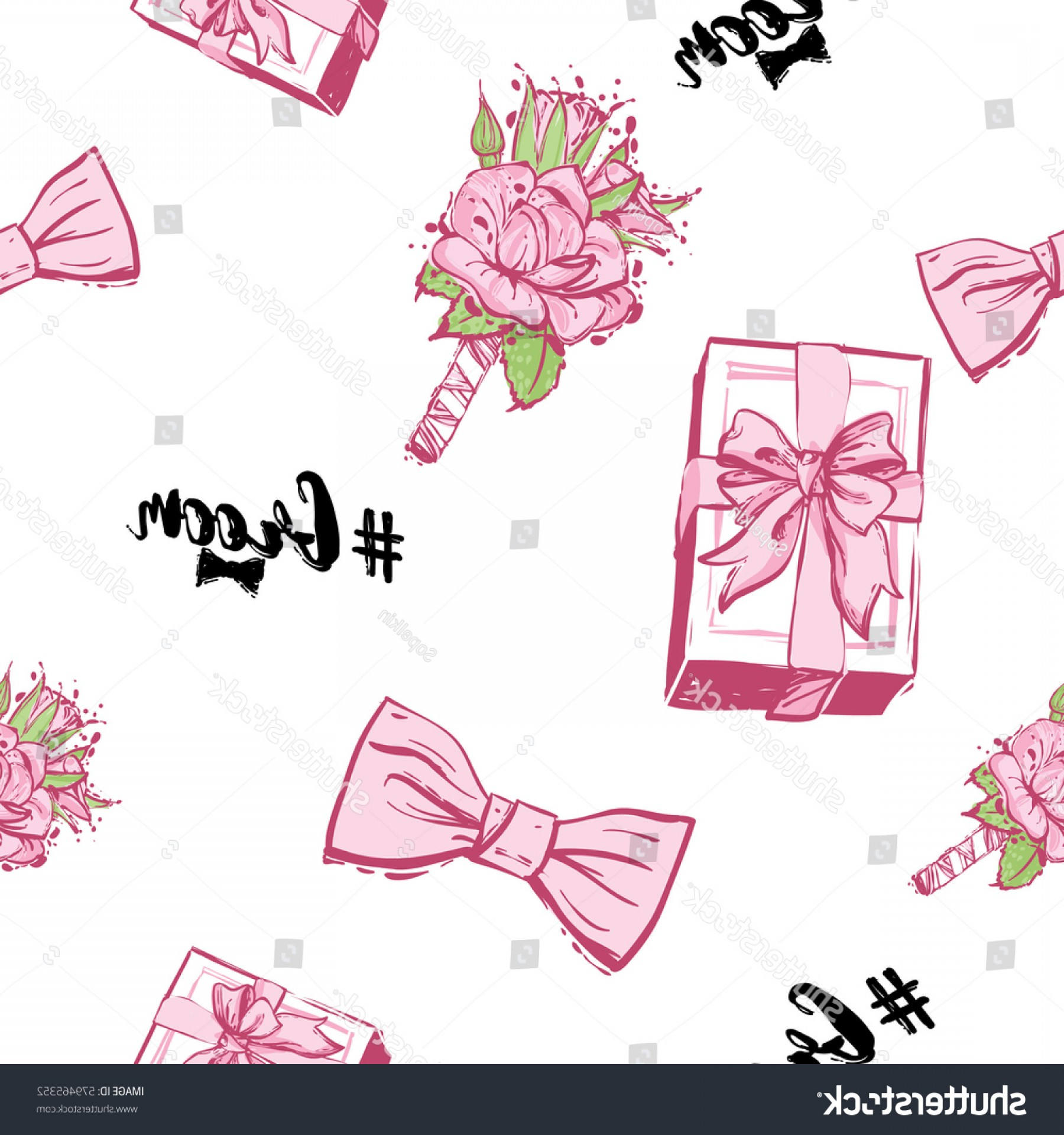 Hashtag Rose Vector: Wedding Patches Illustration Seamless Pattern Bow