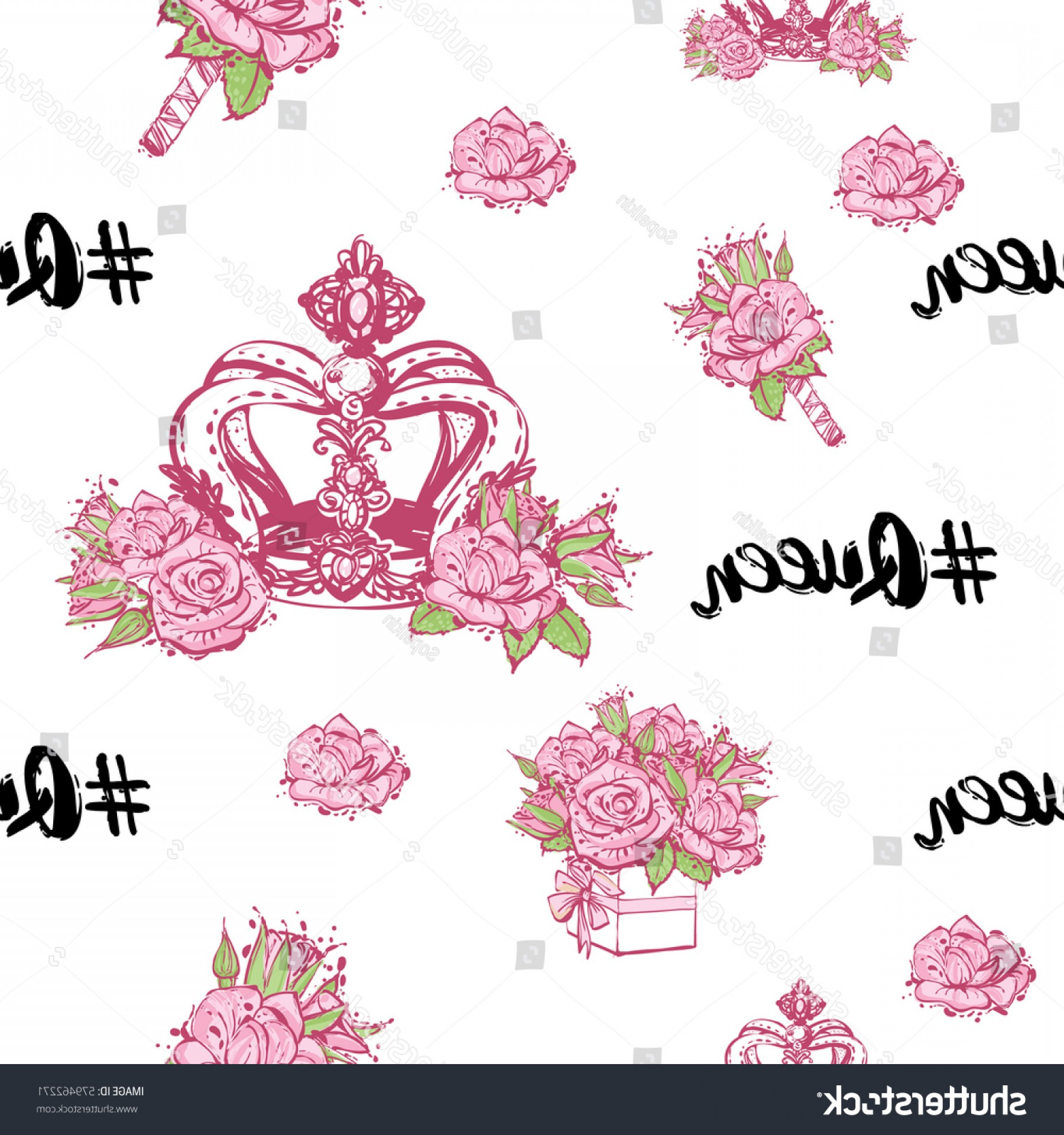 Hashtag Rose Vector: Wedding Patches Illustration Seamless Pattern Queen