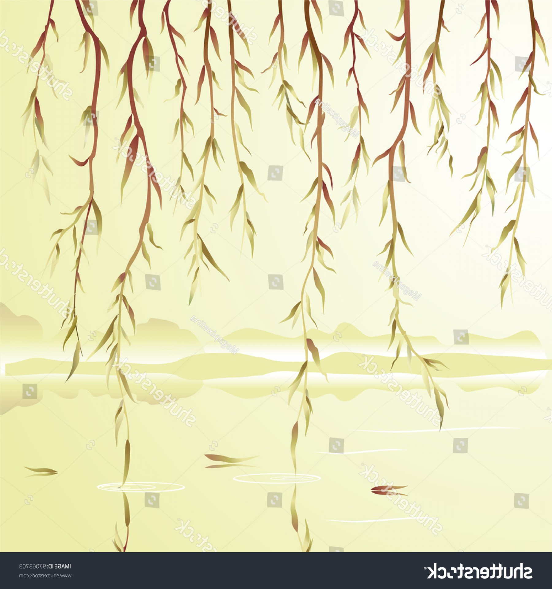 Vector Water Willow: Weeping Willow Above River Vector Illustration