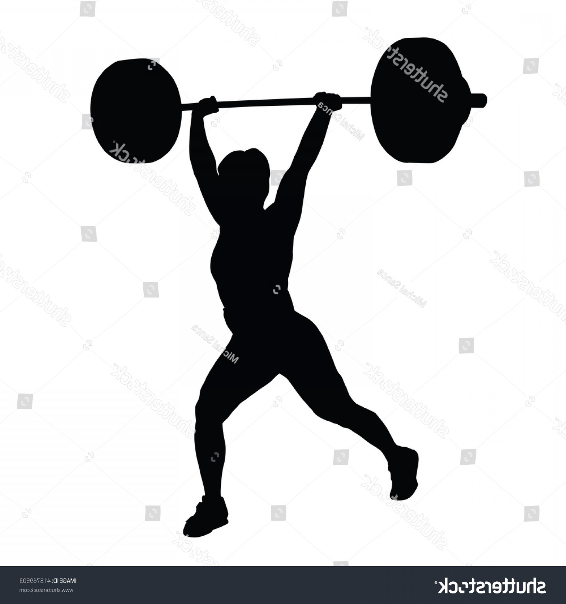 Vector Weight Lifting: Weight Lifting Woman Vector Silhouette Holds