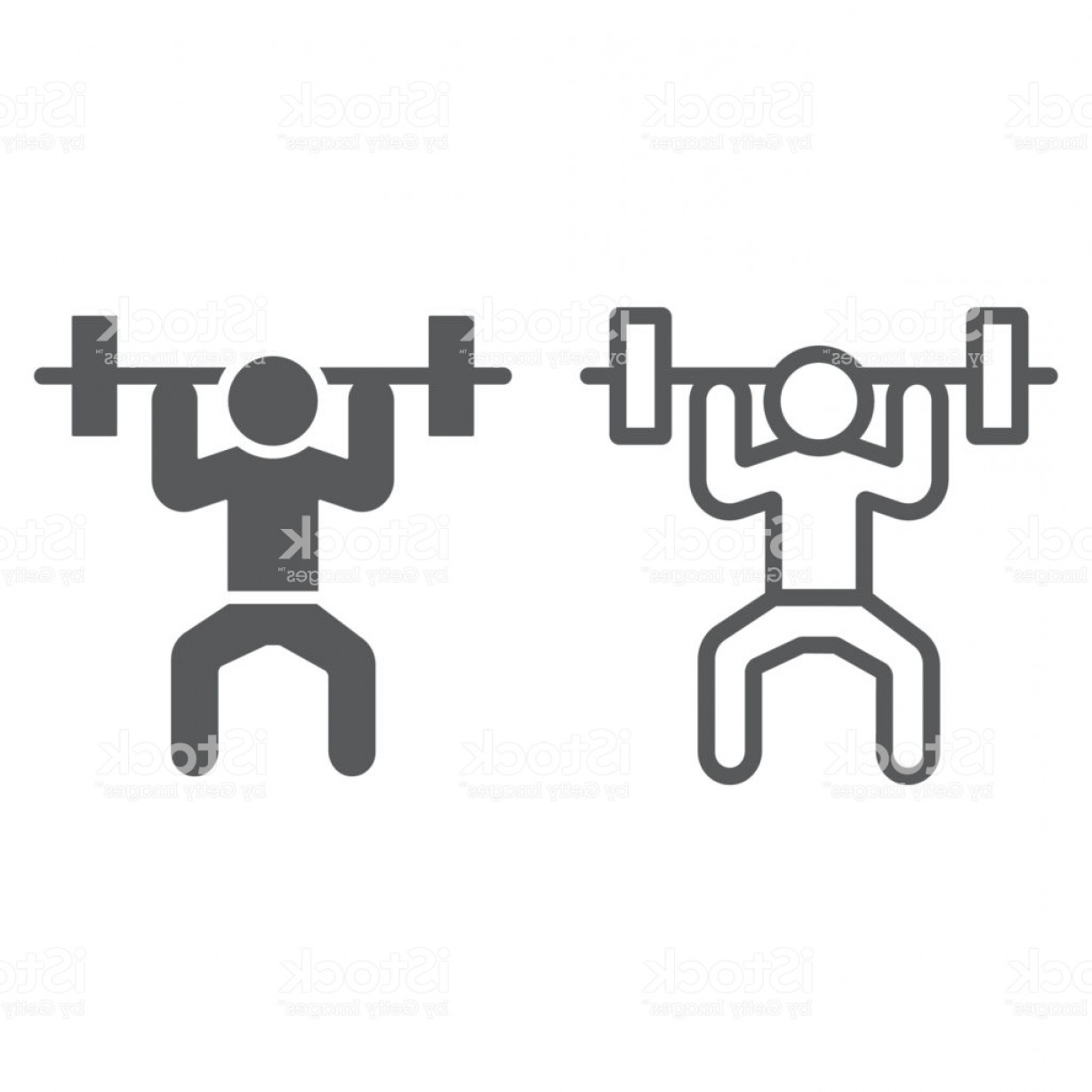 Weight Lifting Vector Graphics: Weightlifter Line And Glyph Icon Sport And Bodybuilding Weightlifting Sign Vector Gm
