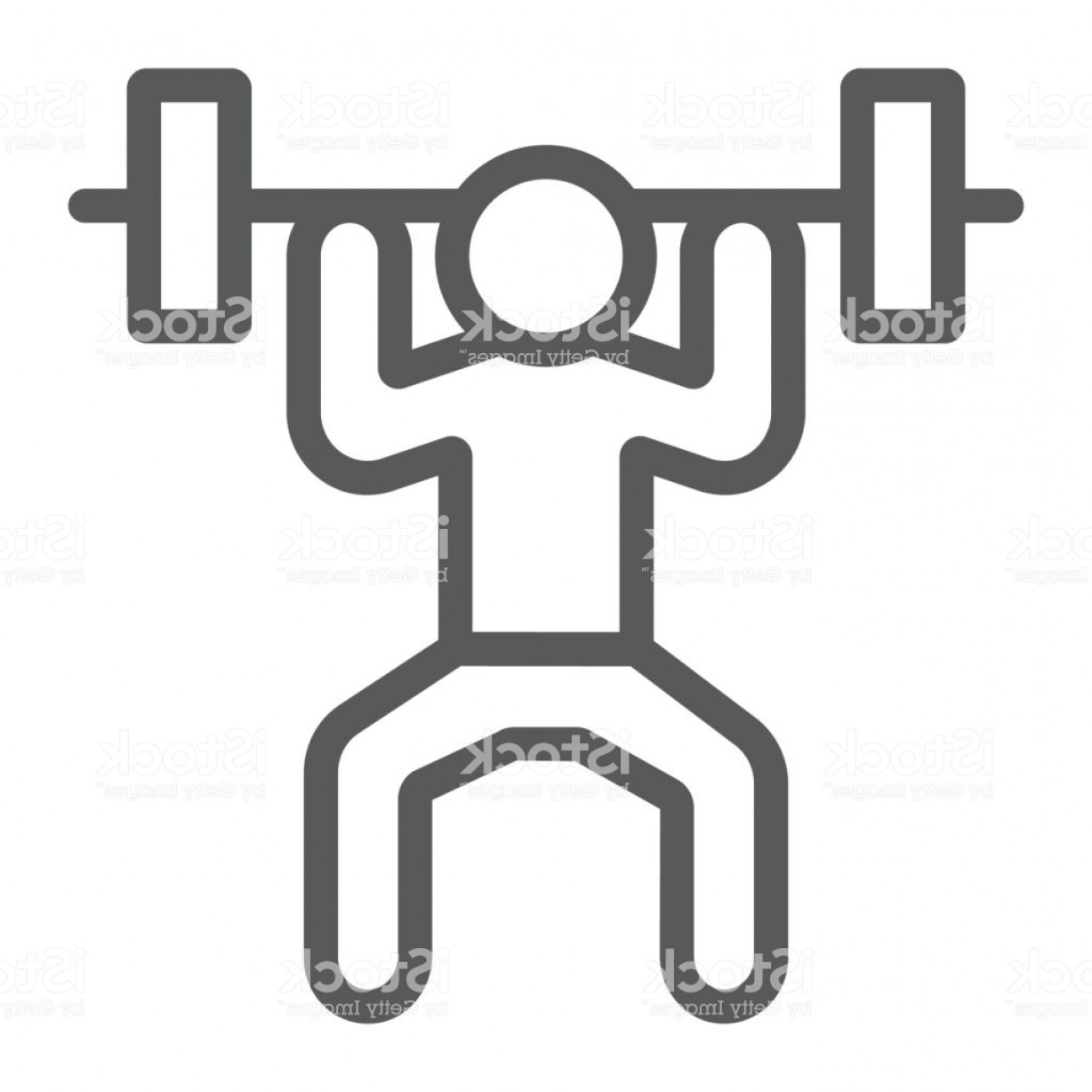 Weight Lifting Vector Graphics: Weightlifter Line Icon Sport And Bodybuilding Weightlifting Sign Vector Graphics A Gm