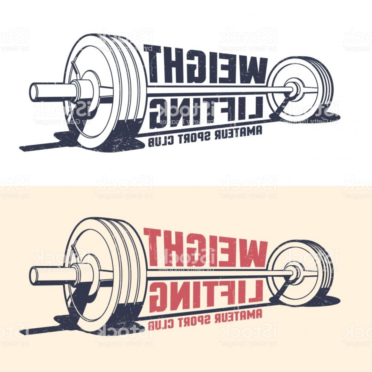 Weight Lifting Vector Graphics: Weightlifting Athleticism Vintage Emblem Gm