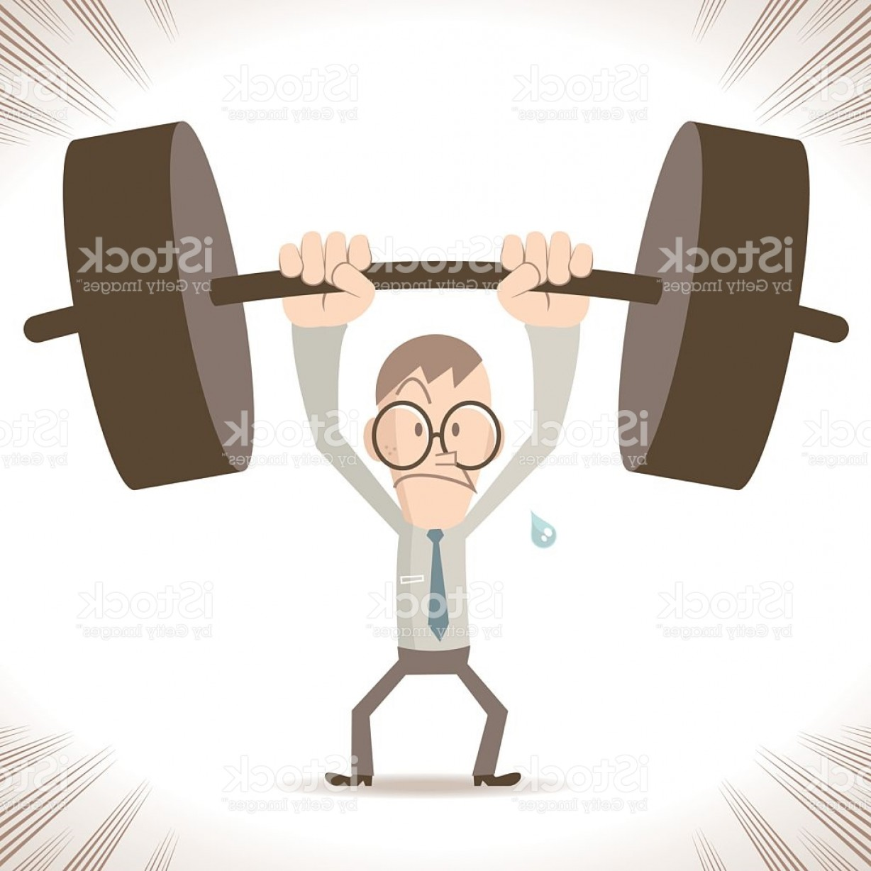 Weightlifter Vector Art: Weightlifting Businessman Strong Thin Man Lifting A Heavy Weight Gm