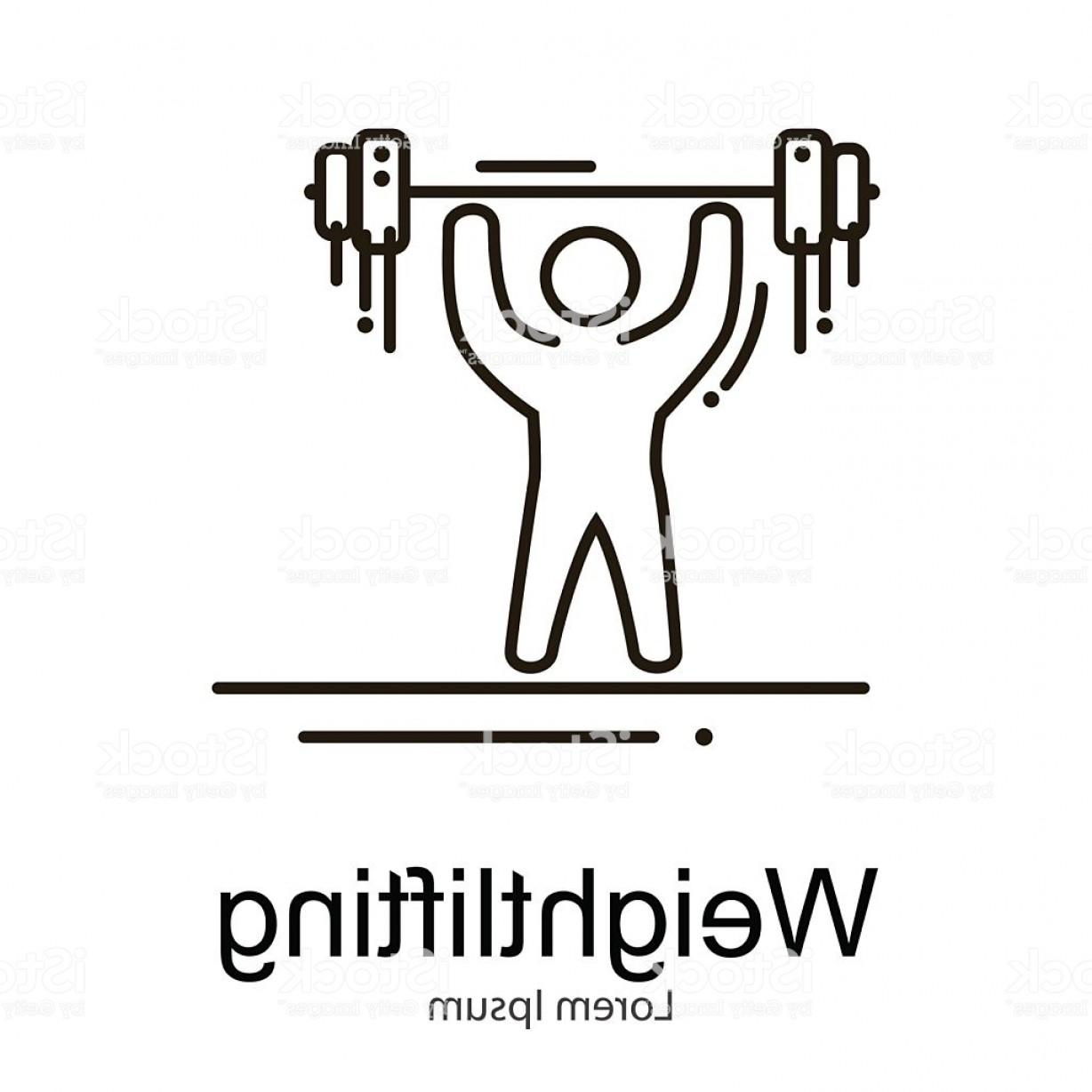 Athlete Vectors: Weightlifting Icon Sportsman With Barbell Strong Athlete Vector Illustration Gm