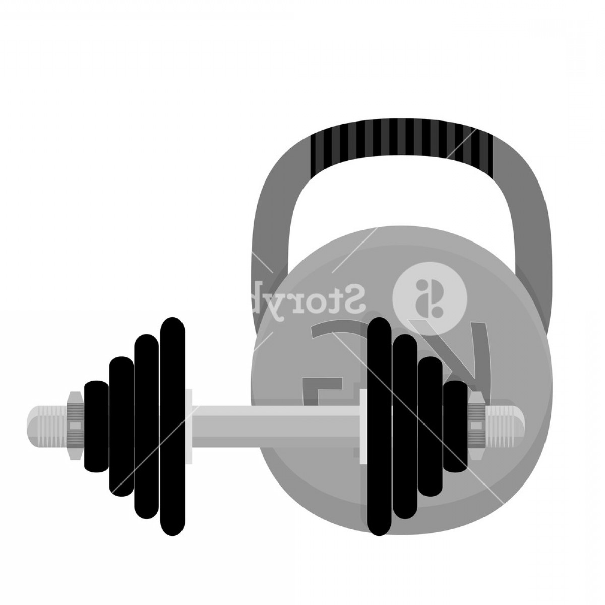 Vector Weight Lifting: Weightlifting Kettlebell And Dumbbell Workout Equipment And Training Bodybuilding Vector Illustration Hyqwnuwjqd