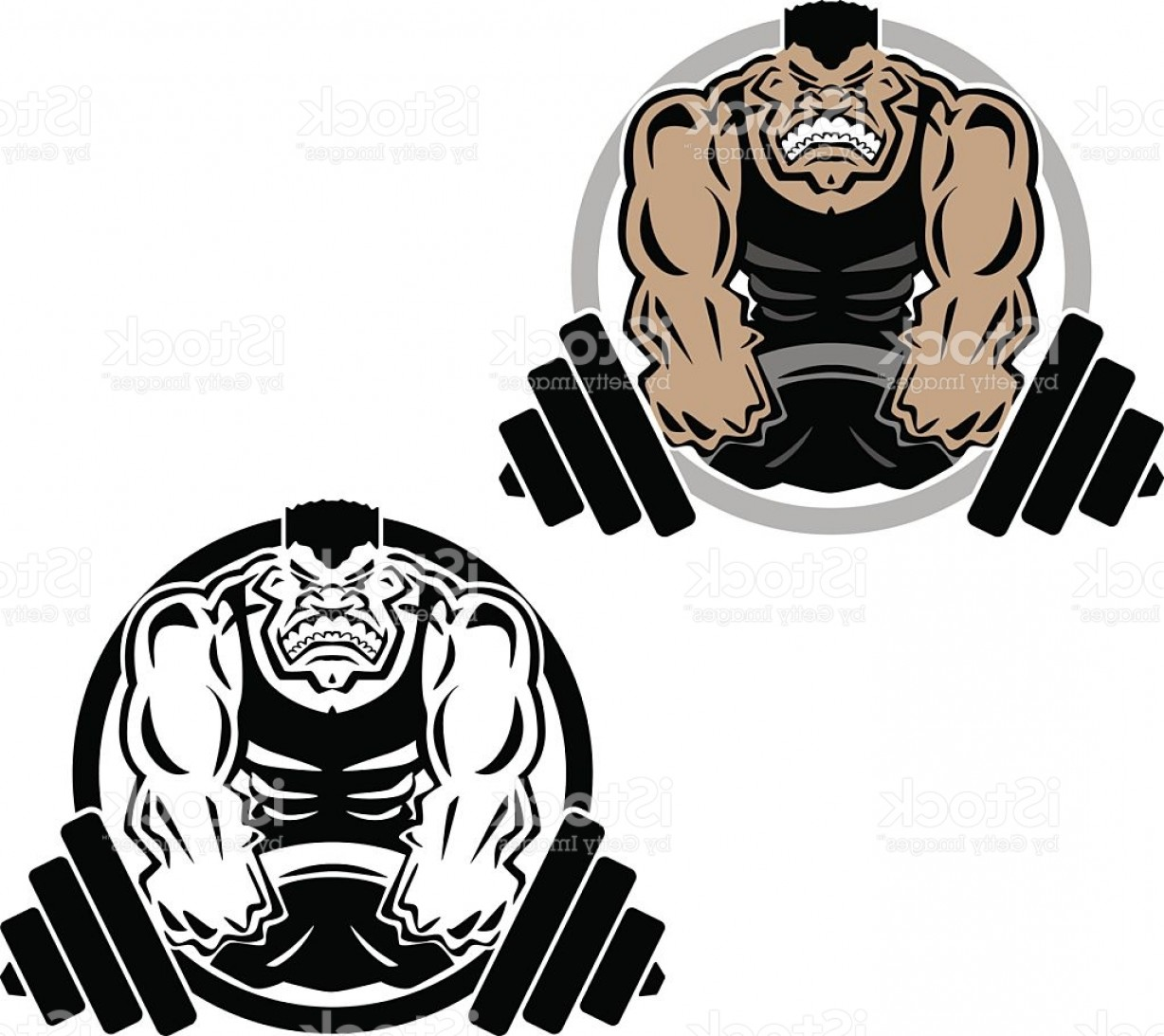 Weightlifter Vector Art: Weightlifting Muscle Fitness Gym Logo Illustration Gm