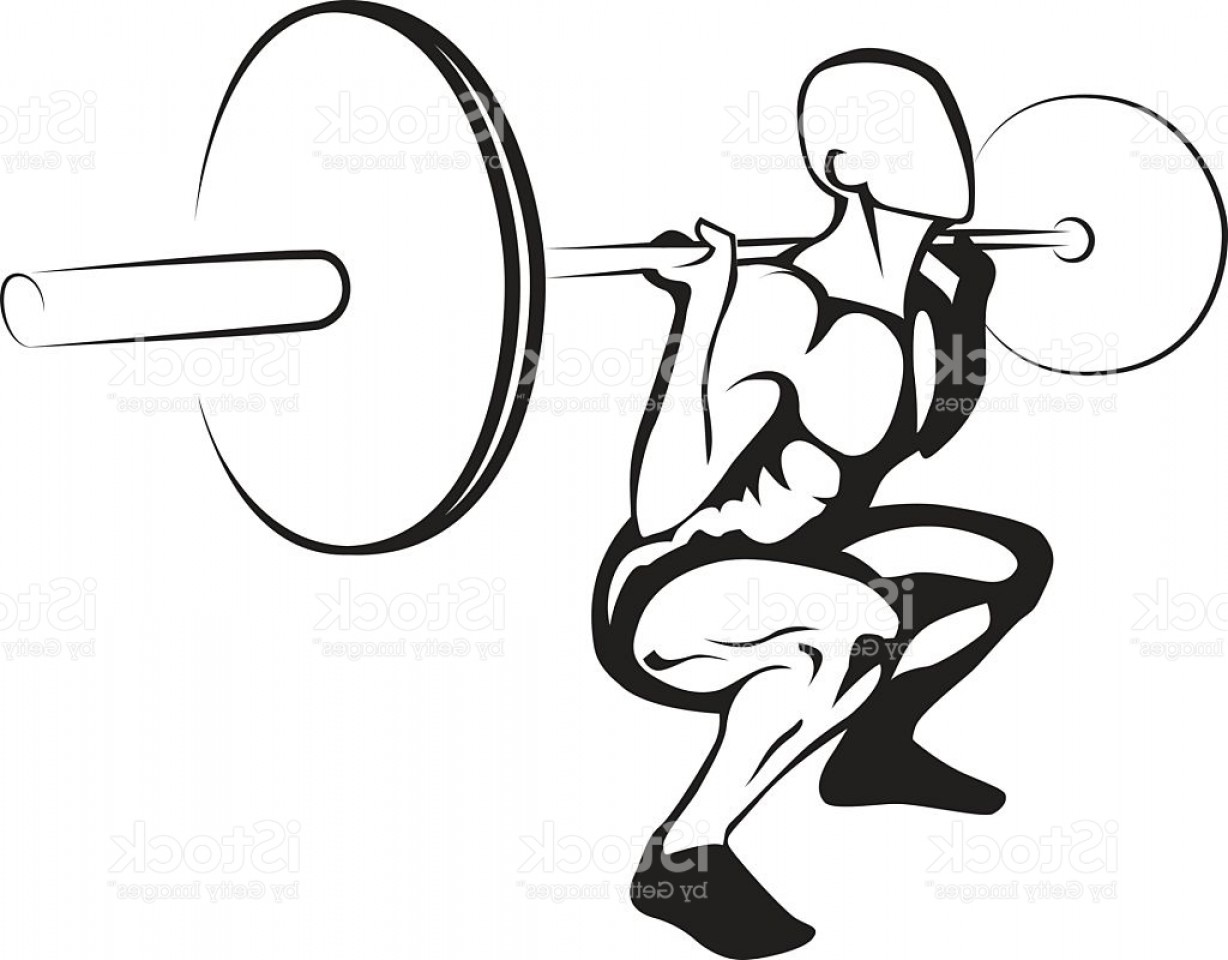 Weightlifter Vector Art: Weightlifting Squat Vector Illustration Gm