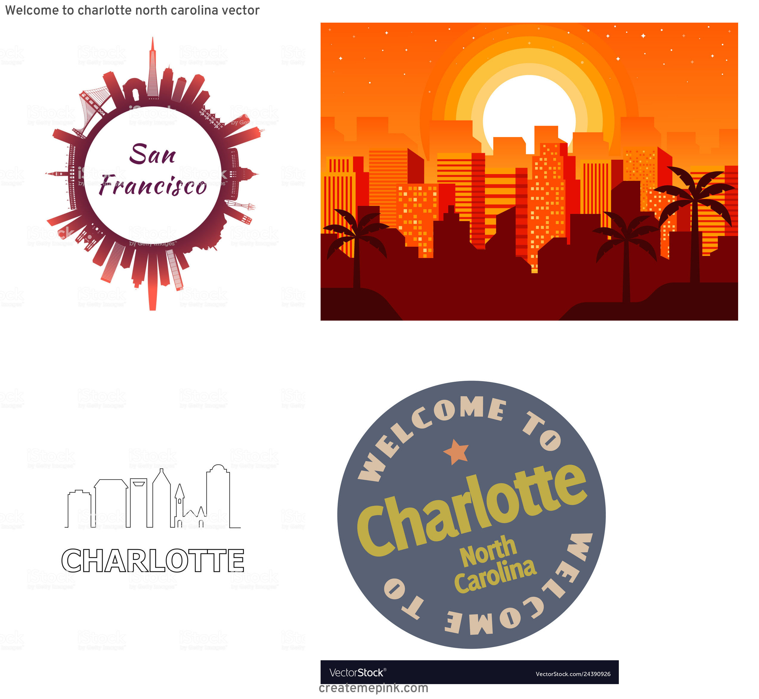 Charlotte Skyline Vector Circle: Welcome To Charlotte North Carolina Vector