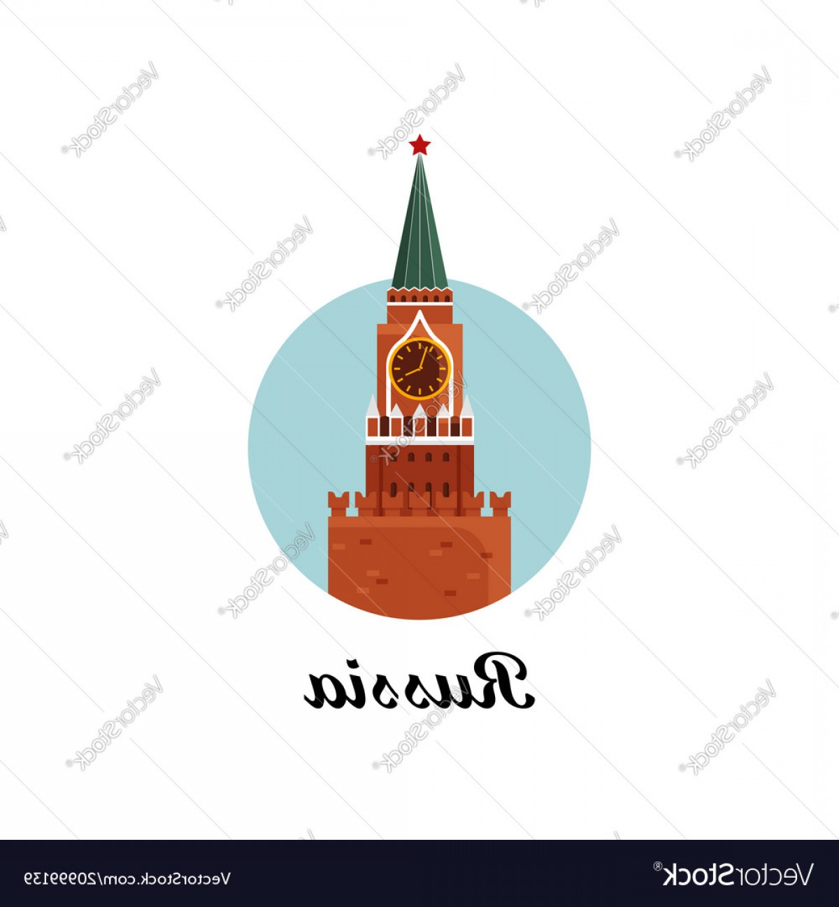 Kaya Vector: Welcome To Russia The Spasskaya Tower On Red Vector