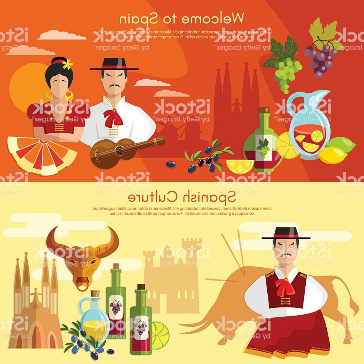 Spanish Vector Art: Welcome To Spain Banner Traditions And Culture Spanish Gm