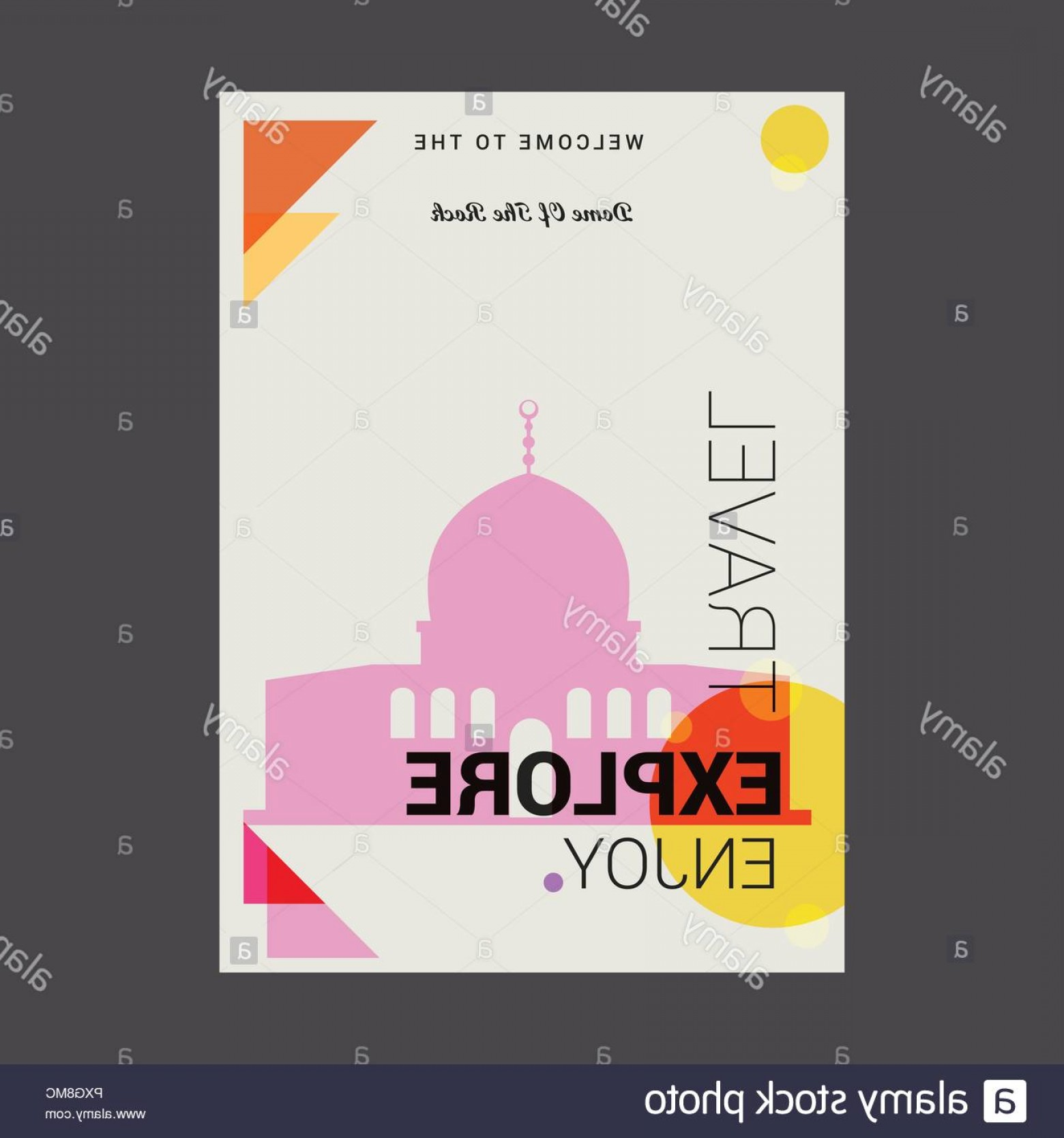 Vector Holy Shrine: Welcome To The Dome Of The Rock Shrine Jerusalem Explore Travel Enjoy Poster Template Image