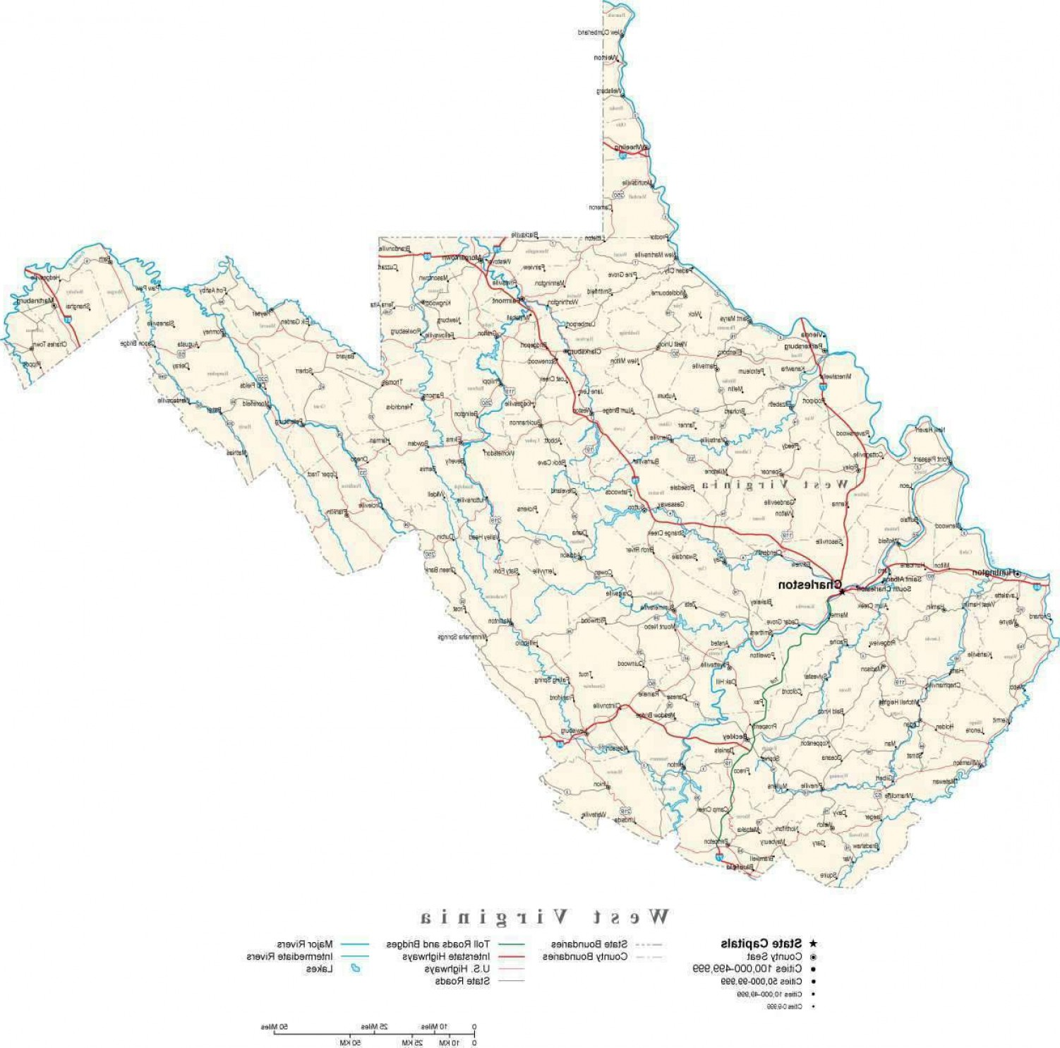 West Virginia Vector Files: West Virginia Digital Vector State Map Wv Usa