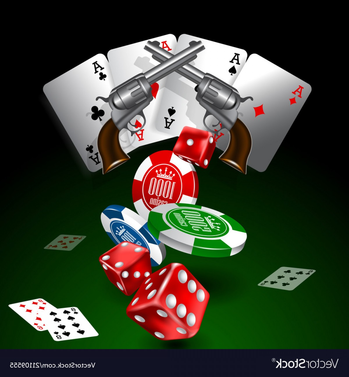 Editable Vector Poker Chips: Western Casino Theme Backgroun With Cards Chip Vector