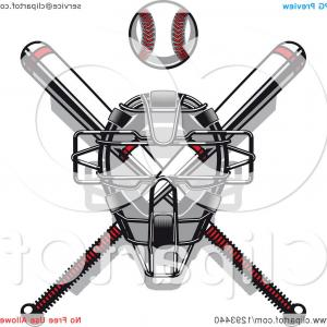 Baseball Mask Vector: White And Red Baseball And Crossed Bats With A Catchers Mask