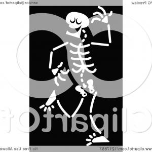 Skeletons In Love Vector: White Dancing Skeleton On Black