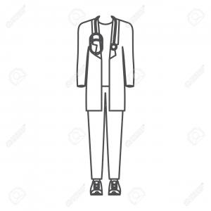 Vector Doctor Outfit: White Lab Coat Hat And Blue Pants Men Doctor Vector