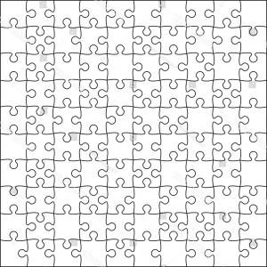 Blank Jigsaw Vector: White Puzzles Pieces Arranged Square