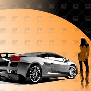 Orange Lamborghini Vector: White Sports Car On Automobile Show Sexy Girl Near Concept Car Vector Clipart