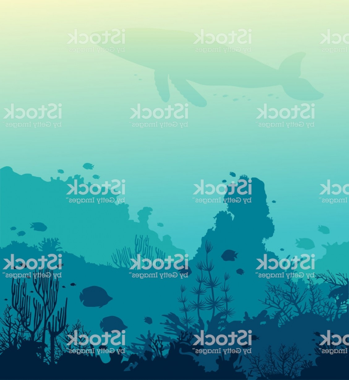 Underwater Sea Vector Art: Whale Coral Reef Fishes And Underwater Sea Gm