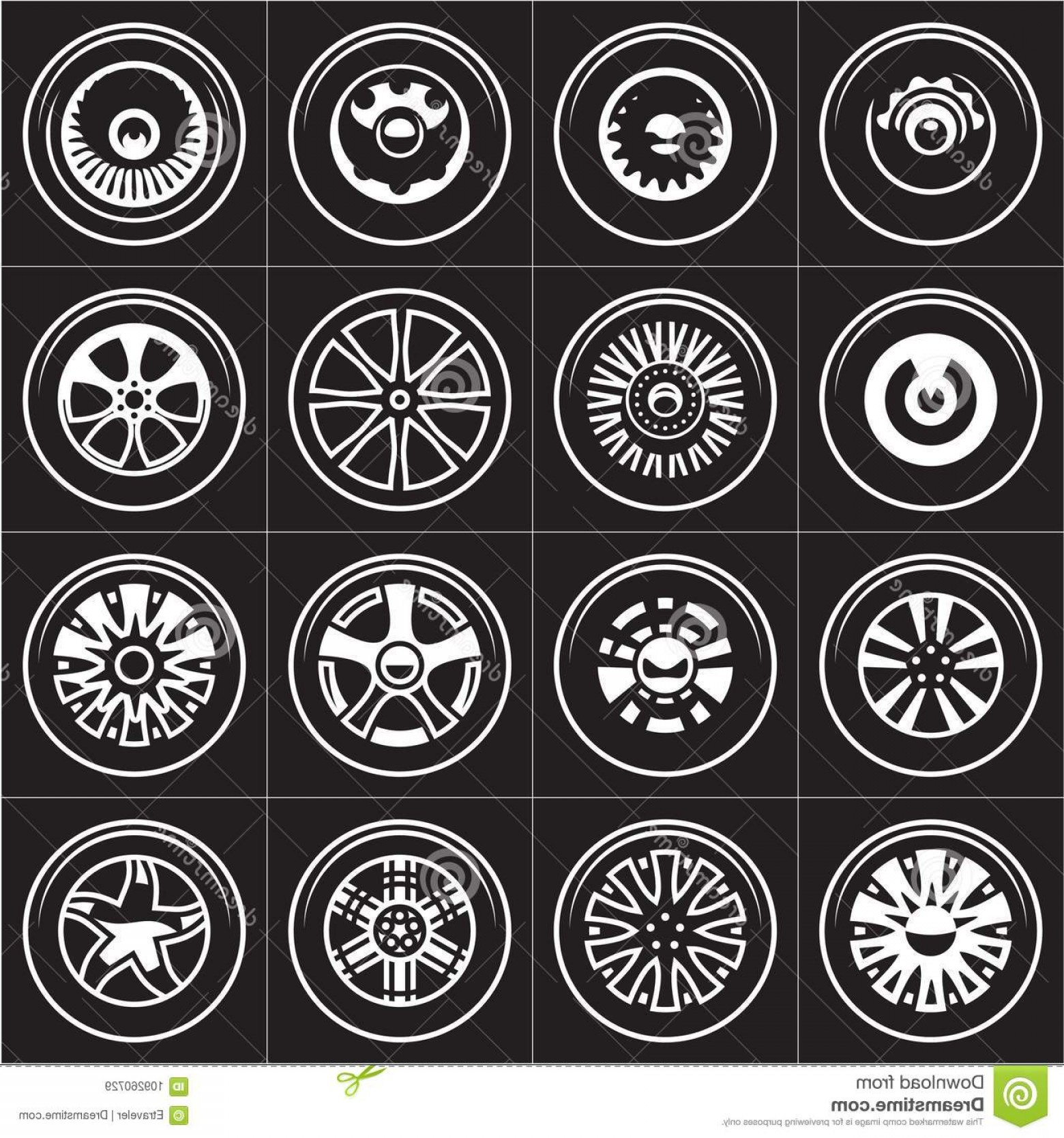 MB Wheels Vector Chrome: Wheels Collection Rims Vector Set Image