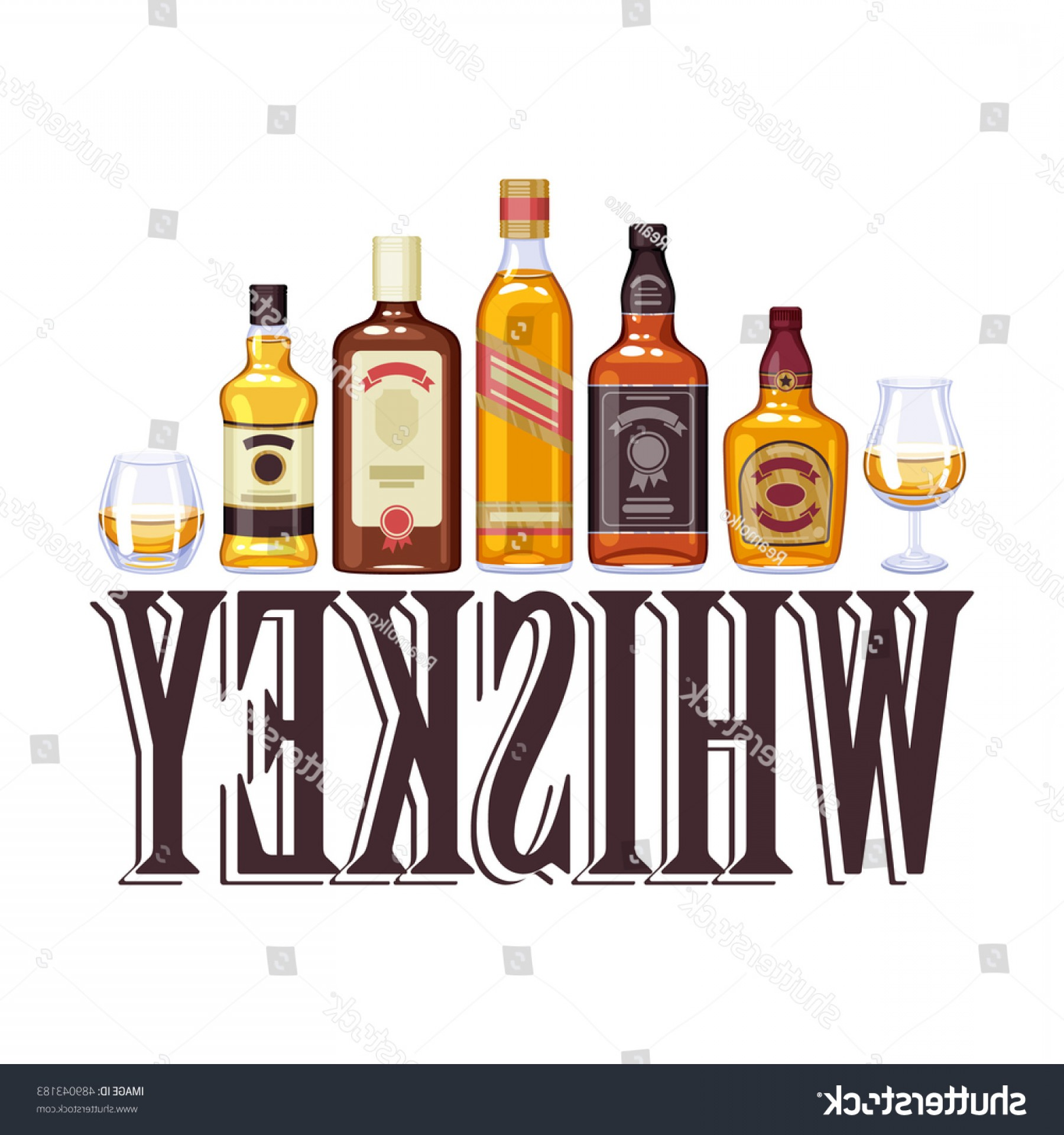 Alcohol Vector: Whisky Bottles Glasses Alcohol Vector Illustration