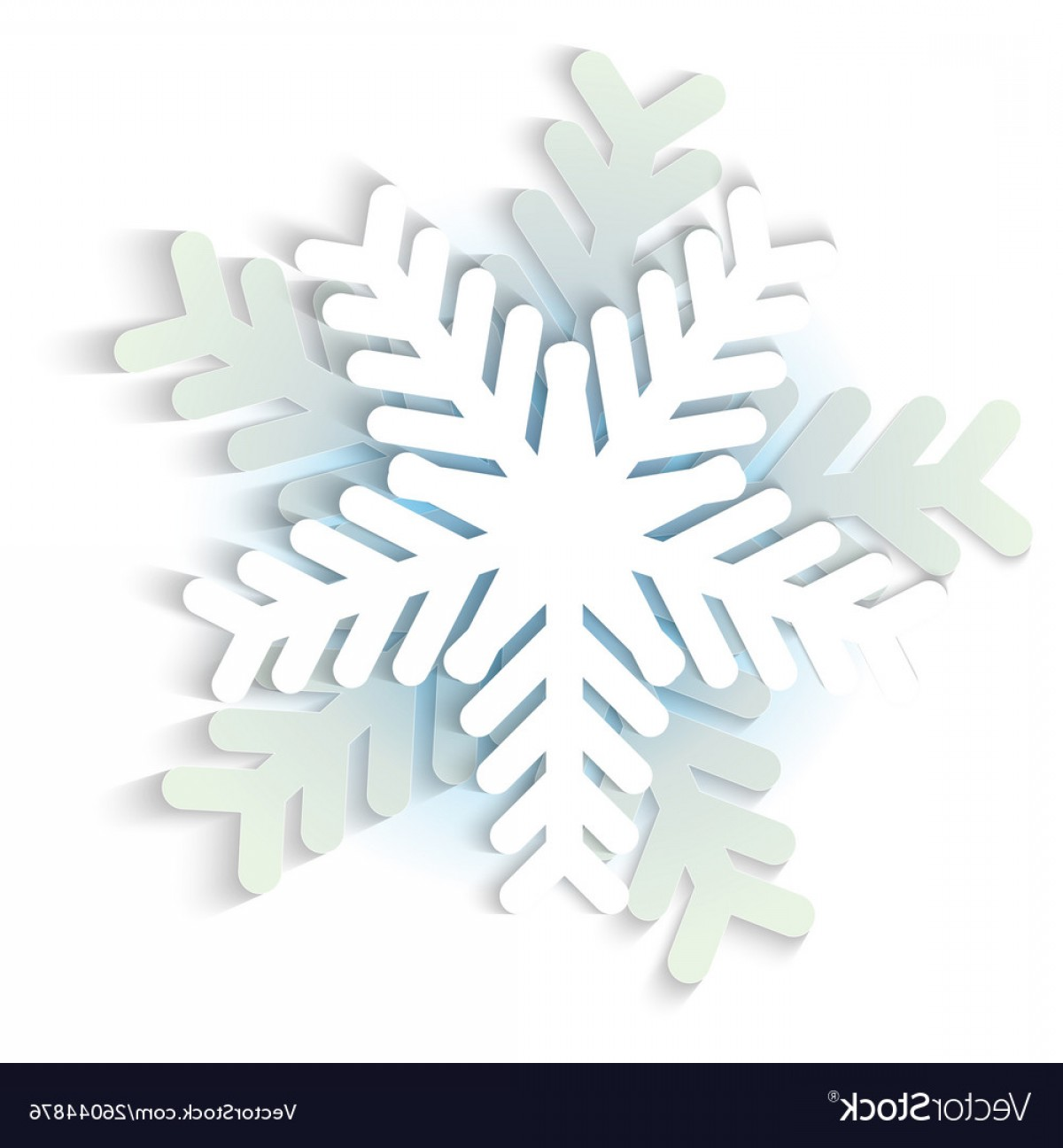 White Snowflake Vector Art: White And Blue Christmas Paper Snowflake Vector