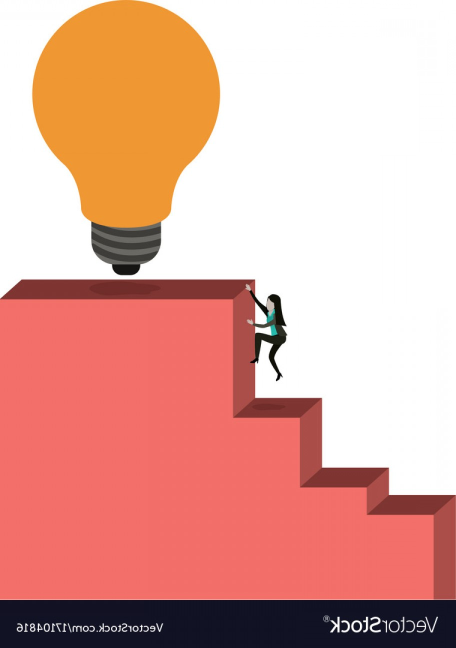 Stair Climb Vector: White Background With Businesswoman Climbing Stair Vector