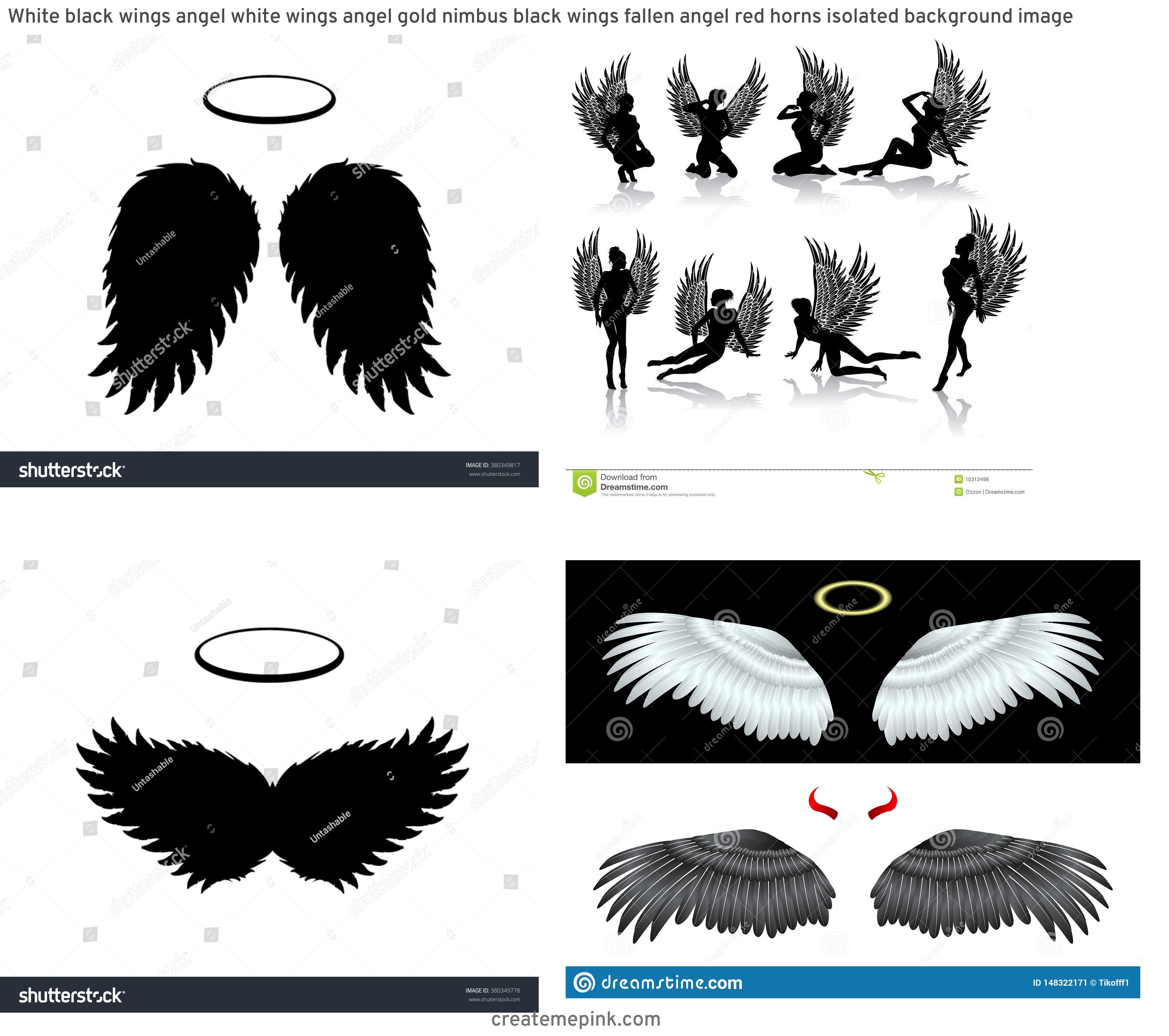 Fallen Angel Wings Vector: White Black Wings Angel White Wings Angel Gold Nimbus Black Wings Fallen Angel Red Horns Isolated Background Image