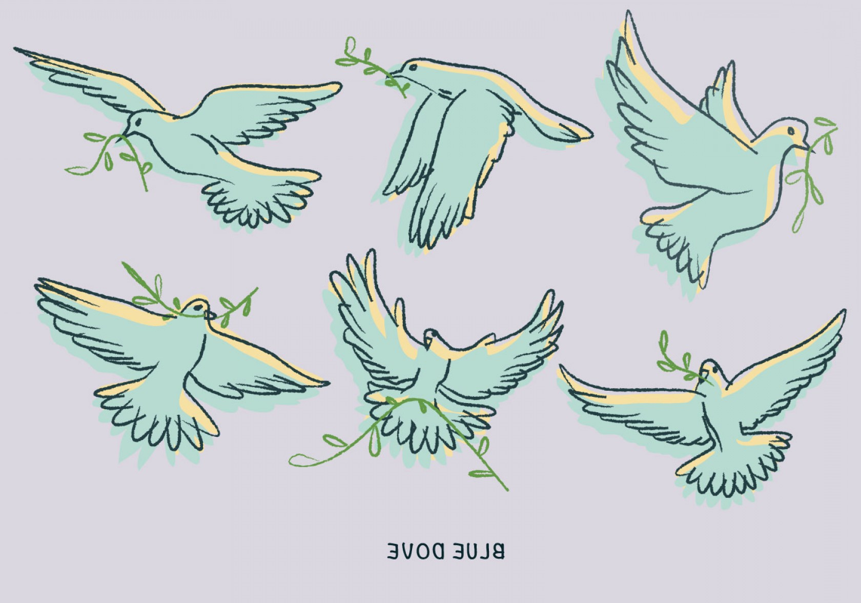 Vector Wedding Doves 2: White Blue Dove Paloma Doodle Illustration Vector