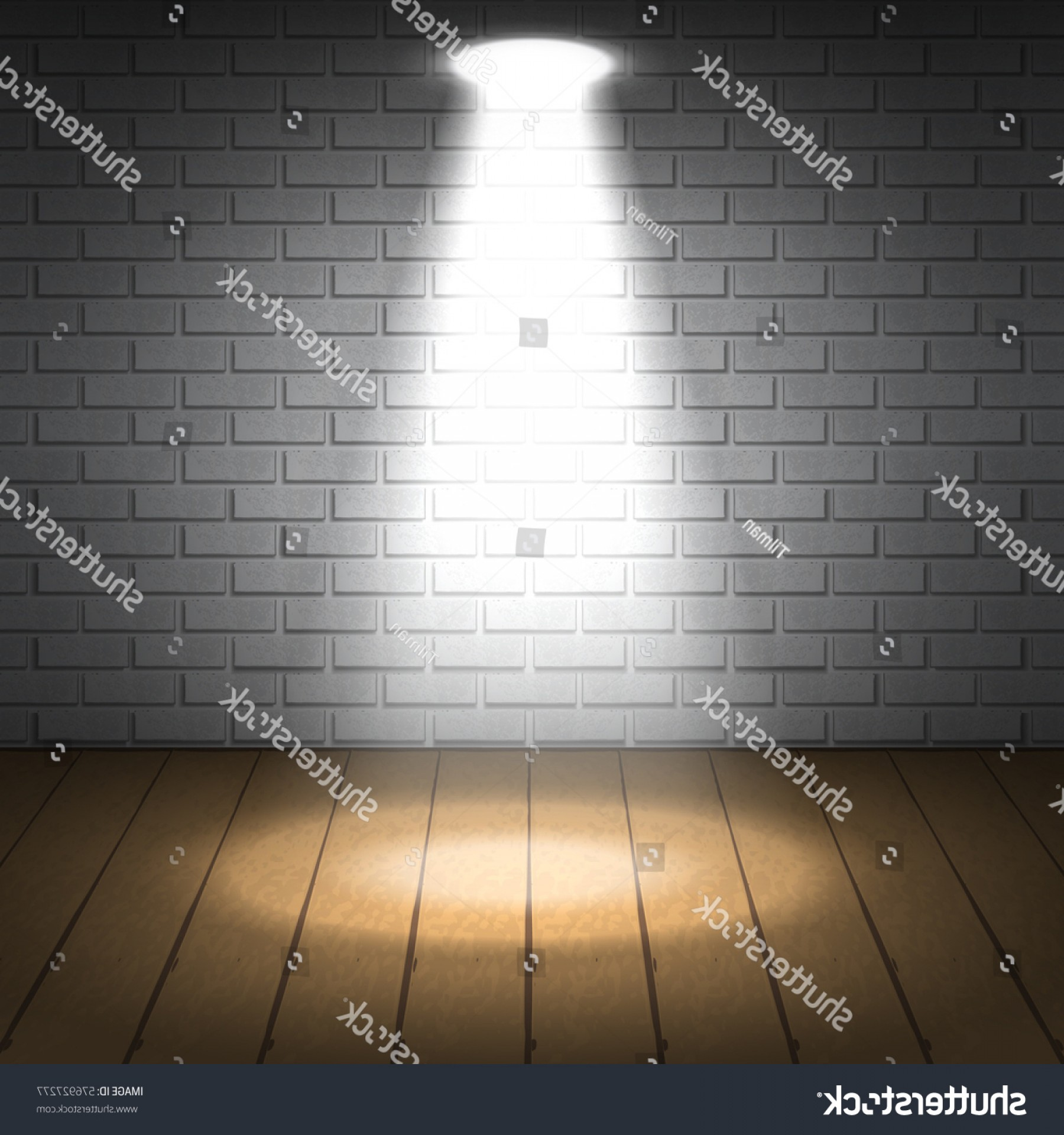 Vector Spotlight 3 Million: White Brick Wall Illuminated Light Spotlight