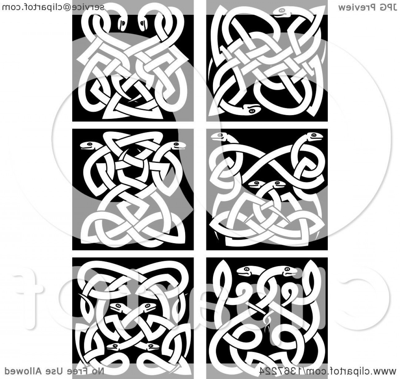 Celtic Tree Vector: White Celtic Knot Snake Designs On Black