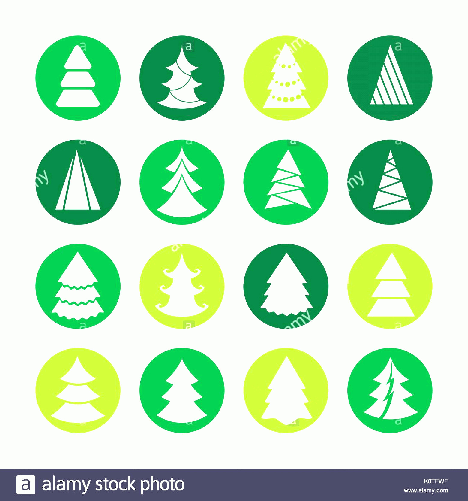 Vector Christmas Toppers: White Christmas Trees On Green Rounds Vector Christmas Tree Icons Image