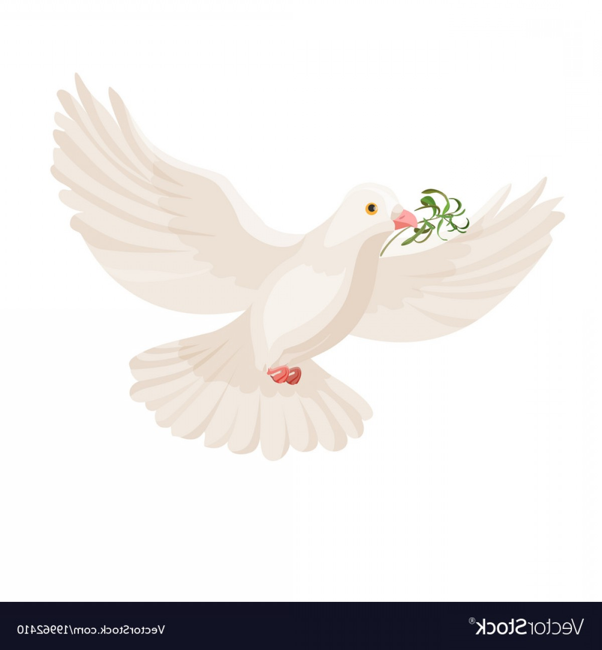 White Bird Vector: White Dove With Grass In Beak Flying Bird Vector
