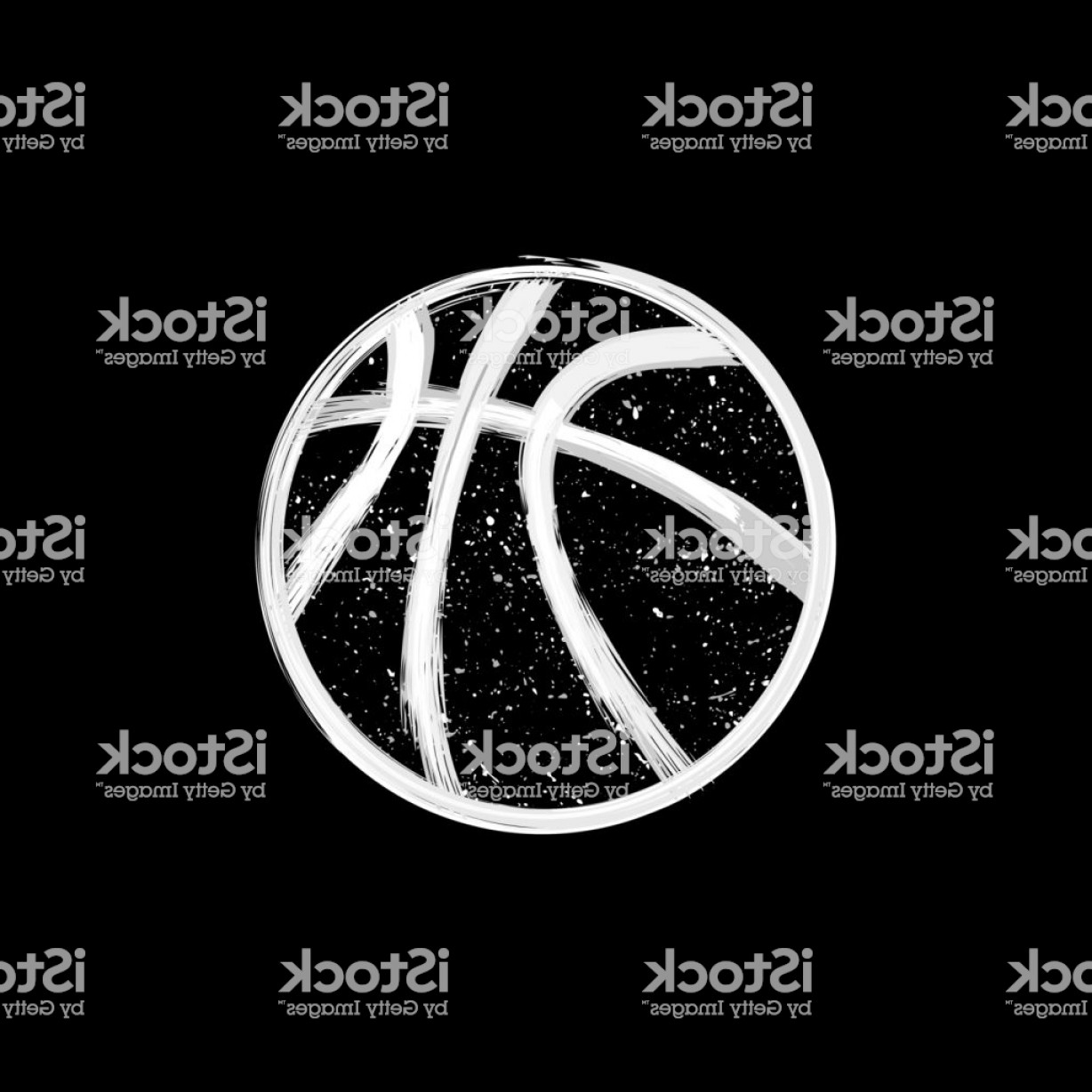 Grunge Basketball Vector: White Grunge Dotted Basketball Gm