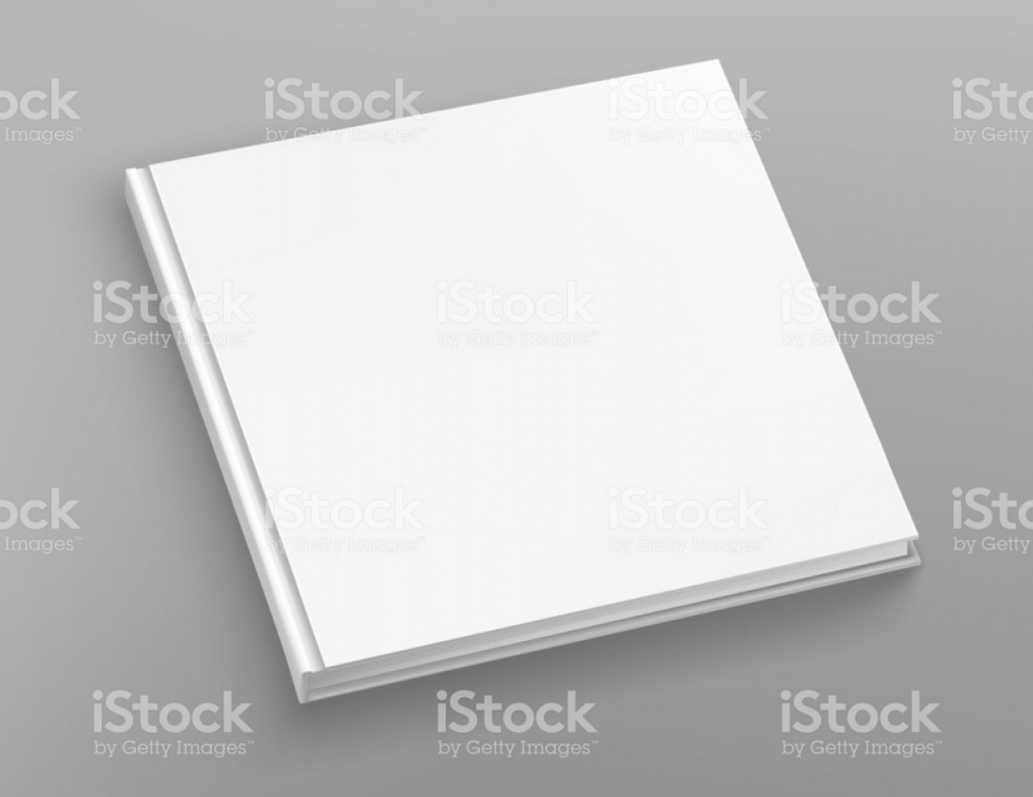 Vector Metal Album: White Hardcover Scuare Book Album Vector Mock Up On Grey Table Closed Book Top View Gm