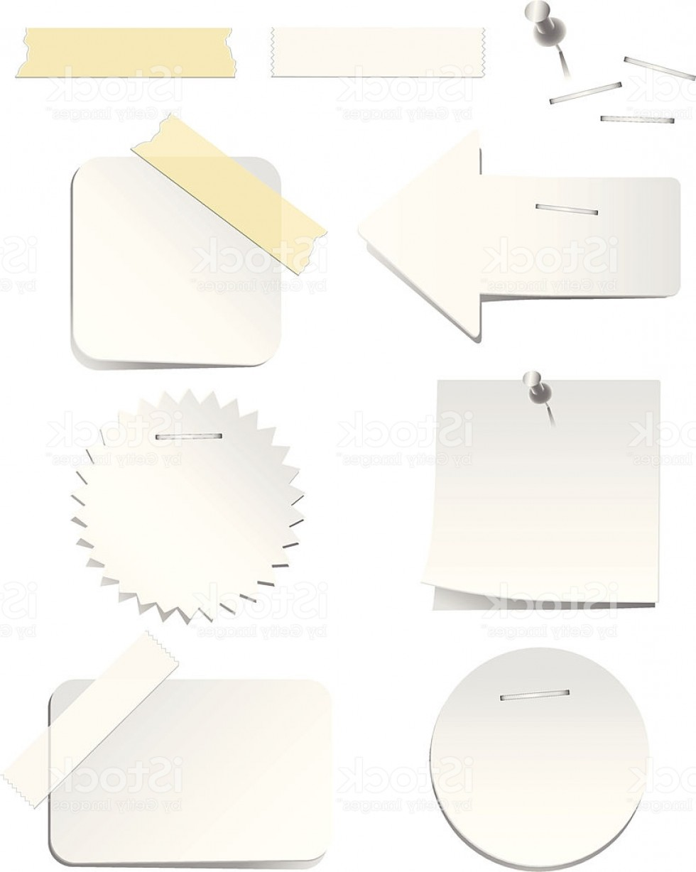 White Staples Vector Logo: White Labels With Staples And Tape Gm