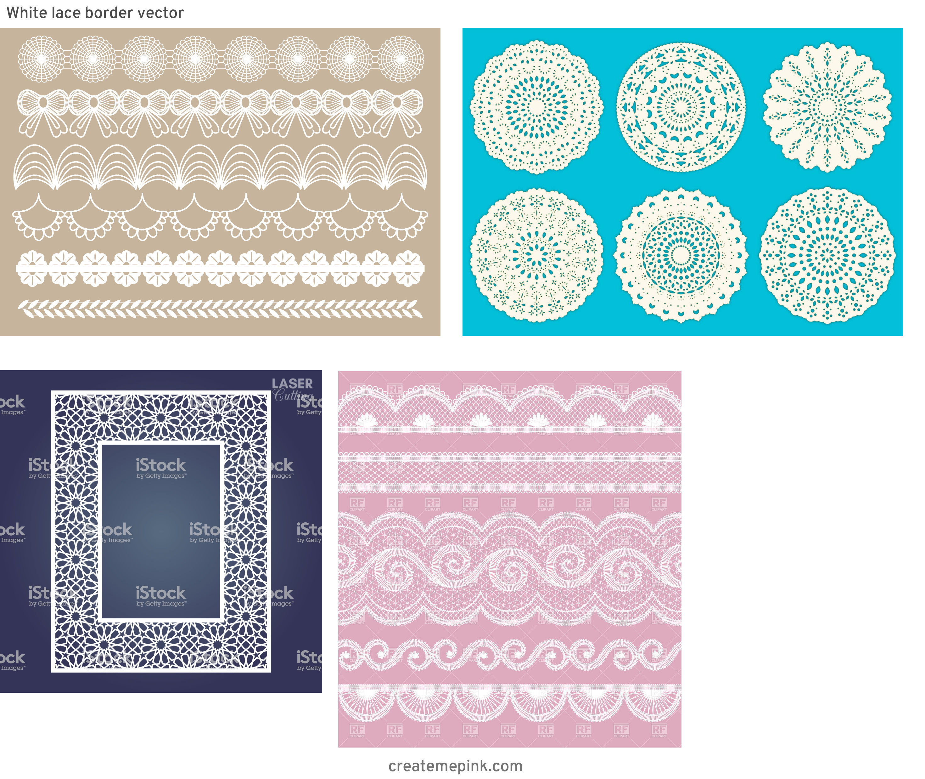 Simple Lace Frame Vector: White Lace Border Vector