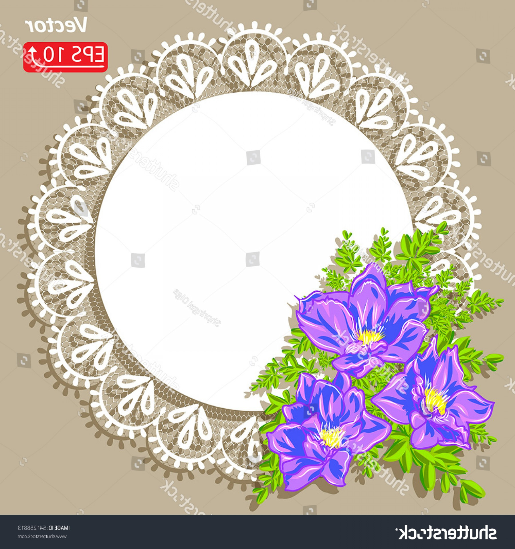 Vector Flower Band: White Lace Design Background Ornamental Flowers